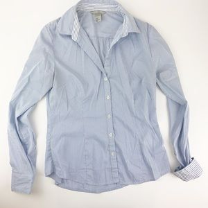 H&M Career Blue and White Striped Blouse